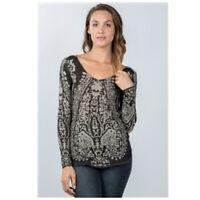 Boho Print Top Shirt Black Grey Textured Colorblock Long Sleeve Womens M NWT