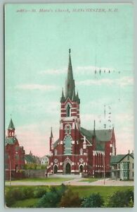 Manchester New Hampshire~St Marie's Church~Vintage Postcard