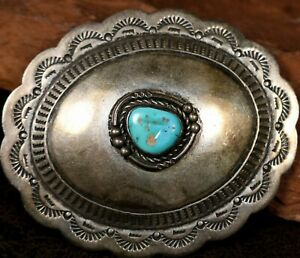 Vintage Navajo Turquoise Sterling Silver Belts Buckle MIKE PLATERO