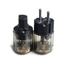 1 Pair C-004 + IEC Conn P-004E Plating Rhodium EU Power Plug fr HIFI Audio Cable