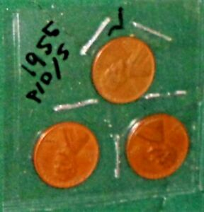 """THREE 1955 LINCOLN WHEAT-BACK PENNIES - FROM """"P"""", """"D"""" & """"S"""" MINTS"""