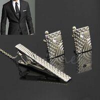 Men Fashion Silver Metal Necktie Tie Bar Clasp Clip Cufflinks Set Simple Gift