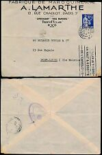MAURITIUS 1939 BRITISH CENSOR from FRANCE SEPT...ADVERT ENVELOPE LAMARTHE