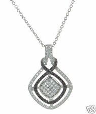 Solid 925 Sterling Silver Black & White Lab Simulated Diamond Pendant Necklace '