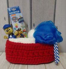 Kids paw patrol red crochet spa basket gift set bath pouf fizz handmade new