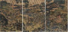 UW»Estampe japonaise originale triptyque bataille samouraïs Shuntei 09 M19