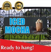 ICED MOCHA Banner Vinyl / Mesh Banner Sign Flag Coffee Cold Stand Drink Latte