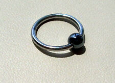 "Captive Bead Ear Ring 16g 1/2"" 316L Hematite Ball Nipple Lip 316L Steel"