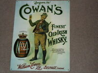 Large Whiskey Picture Plaque Cowan's Irish Whisky Metal Sign / BAR /PUB Man Cave