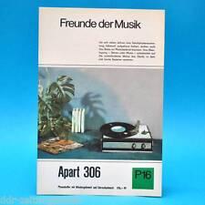 Apart 306 Phonokoffer DDR 1968 | Prospekt Werbung Werbeblatt DEWAG P16 C
