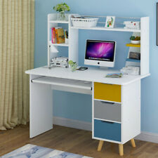 Wood White Computer Desk Writing PC Laptop Table Home Office Study Drawer Shelf