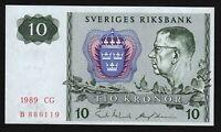 1989 Sweden 10 Kronor crisp uncirculated P-52e Sveriges Riksbank