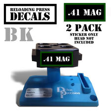"""41 Mag Reloading Press Decals Ammo Labels 1.95"""" x .87"""" Sticker 2 Pack BLK/GRN"""