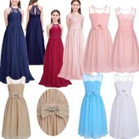 Kids Girls Halter Lace Chiffon Flower Dress Wedding Bridesmaid Formal Party Gown