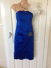 Debut Colbut Blue Bandeau Wiggle Dress. Size 12 Good Cond Hols 29/8 To 6/9
