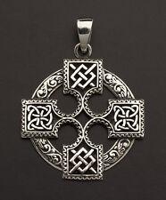 Pendentif Croix solaire bretonne Celte druide Argent Massif 925 7g K21 25843