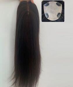 """5.5""""x6"""" SILK TOP CAP 100% human hair topper hairpiece partial wig for hair loss"""