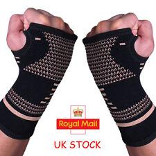 Copper Wrist Sleeve Palm Hand Support Gym Compression Brace Glove Arthritis UK
