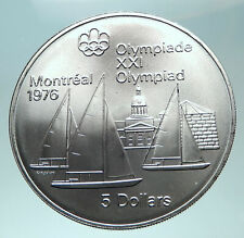 1973 CANADA Queen Elizabeth II Olympics Montreal Sailing Silver Coin i82296