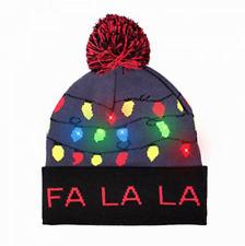 LED Xmas Knit Beanie Hat Cap for Men Women Boys Girls Kids Warm Winter