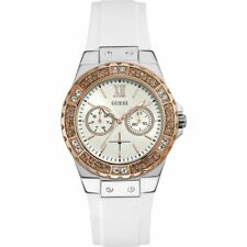 Guess Limelight Crystal White Rose Gold Dial Silicone Women's Watch W1053L2