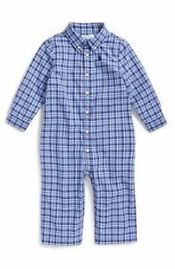 New in box Ralph Lauren blue plaid cotton baby boy overall one-piece size 9M $50