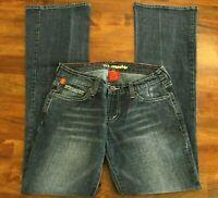 Women's !iT Boot Cut Jeans Stretch Dark Wash Low Rise Juniors 5 Inseam 32