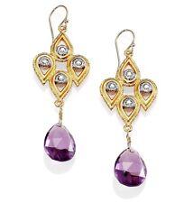 ALEXIS BITTAR Pear Purple Amethyst Crystal Lace Drop Earrings 14k Yellow Gold