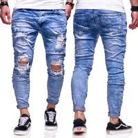 BEHYPE Destroyed Jeans Röhrenjeans Slim Fit Herren Chino Hose Blau/Schwarz NEU