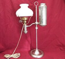 "BEAUTIFUL Old Antique MILLER STUDENT OIL LAMP Electrified w/ MILK GLASS 6"" SHADE"