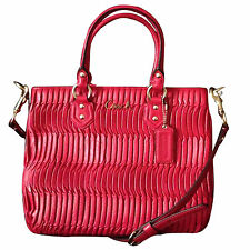 NWT!! COACH Gathered Leather Ashley Mini Tote Raspberry Pink Style # F23972