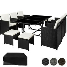 Poly Rattan Muebles de jardín conjunto comedor mimbre asientos 6 Sillas 4 Taburetes Mesa 1
