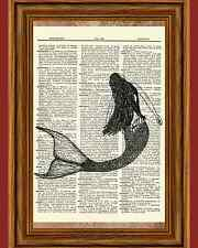 Mermaid Dictionary Art Print Picture Book Nautical Ocean Under Water Poster