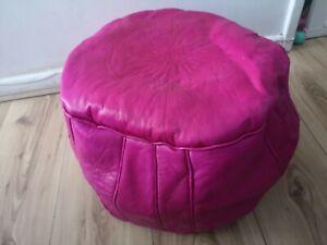 Pink Genuine Leather Moroccan Pouffe New Pouf Poufe Ottoman Handmade