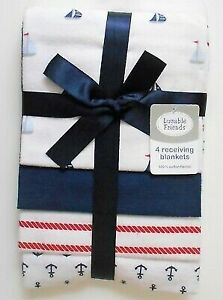 RECEIVING BLANKETS SET 4 COTTON PACK BABY - BOYS - NAUTICA RED BLUE NEW