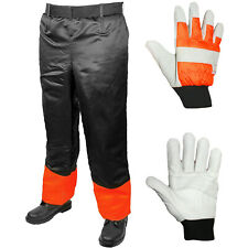 "Chainsaw Trousers Chaps Adjustable 31-42"" + Padded Gloves Forestry Safety"