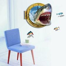 1x 3D Shark Wall Sticker Removable Home Kids Room Decoration Decal Art Paper WA