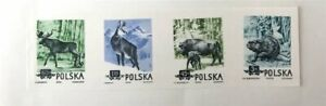 POLAND OFFICIAL COLOUR PRINT 1958 IMPERF!! ANIMALS WISENT BISON ELK BEAVER z3323
