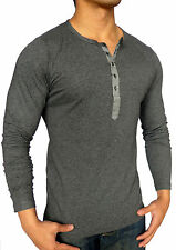 MENS CHARCOAL GREY LONG SLEEVE HENLEY T SHIRT SLIM GRANDPA FASHION CASUAL MUSCLE