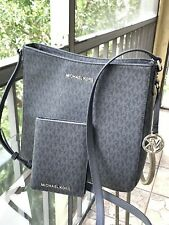 Michael Kors Jet Set Travel Large Messenger Crossbody MK Signature Black