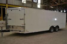 SnowMobile car hauler  tube frame 8.5x20 v nose RAMP white, black