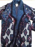 VTG Cervelle Women's Sz L Blue Red Aztec Duster Wool Blend Cardigan Sweater