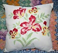 Throw Pillow From Wilendur Era Red Floral Farmhouse Mid Century Tablecloth