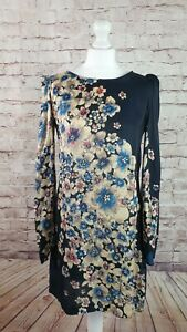 Great Plains Tunic Dress Silky Navy & Floral Bell Sleeves Elegant Size L