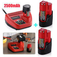 2 x For Milwaukee M12 12V Li-Ion Red Lithium 2500mAh Battery 48-11-2401 &Charger