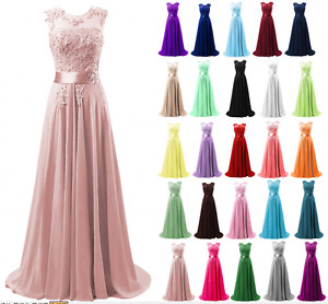 Long Chiffon Lace Evening Formal Evening Party Prom Bridesmaid Dresses Size 6-30
