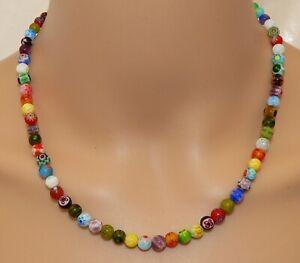 Halskette Perlen Lampwork  Millefiori Murano Art bunt mehrfarbig multicolor 003c
