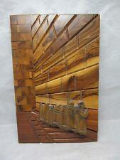 Carved, inlaid wood plaque. Hebrew men, Wailing Wall. Jerusalem, Israel