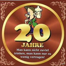 Aufkleber Flaschenetikett 20 Jahre mit witzigen Spruch Geburtstag Bierflasche