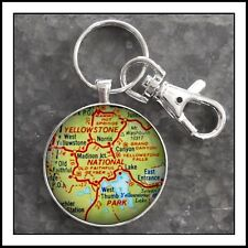 Yellowstone National Park vintage map photo pendant keychain charm Gift